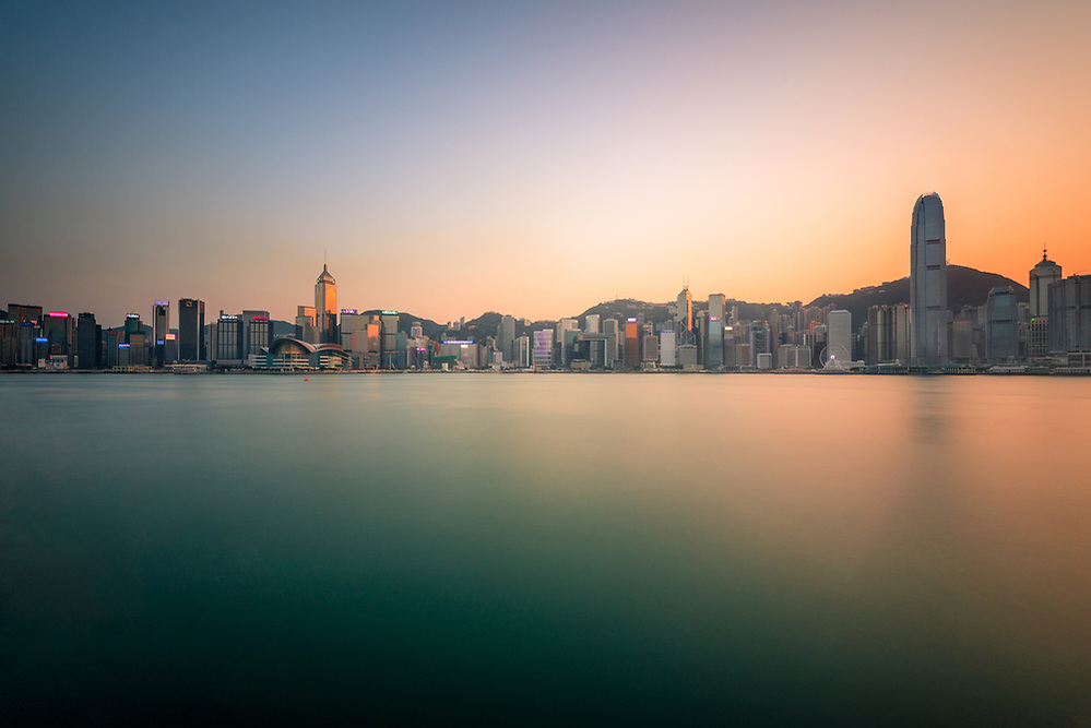 Hong Kong skyline at sunset seen from Tsim Sha Tsui (Mark Eden)