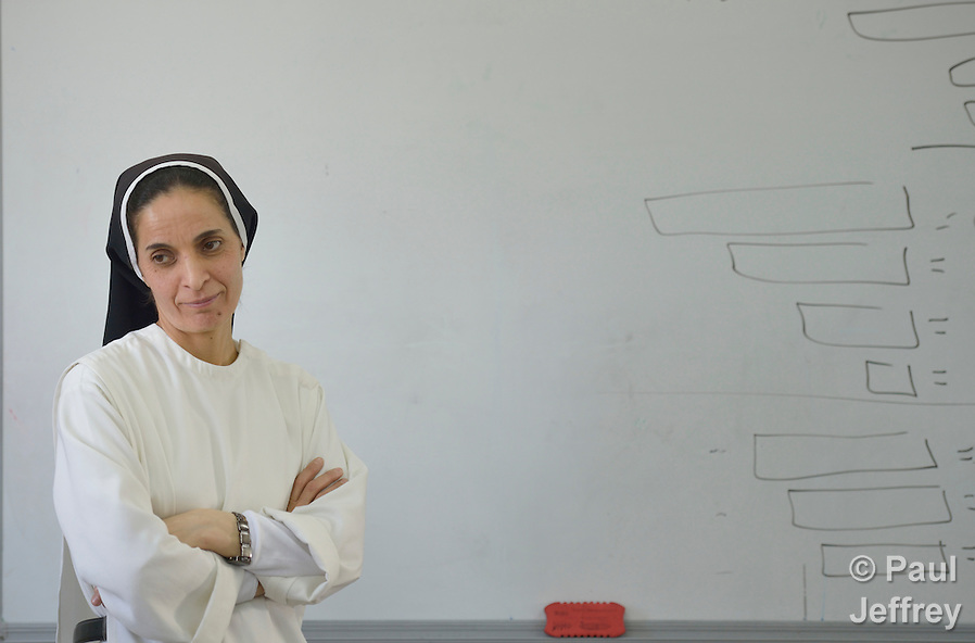 Sister Muntahah Haday teaches a class at the Al Bishara School, which is run by the Dominican Sisters of St. Catherine of Siena in Ankawa, near Erbil, Iraq. The students and the Dominican Sisters themselves were displaced by ISIS in 2014. The nuns have established schools and other ministries among the displaced. (Paul Jeffrey)