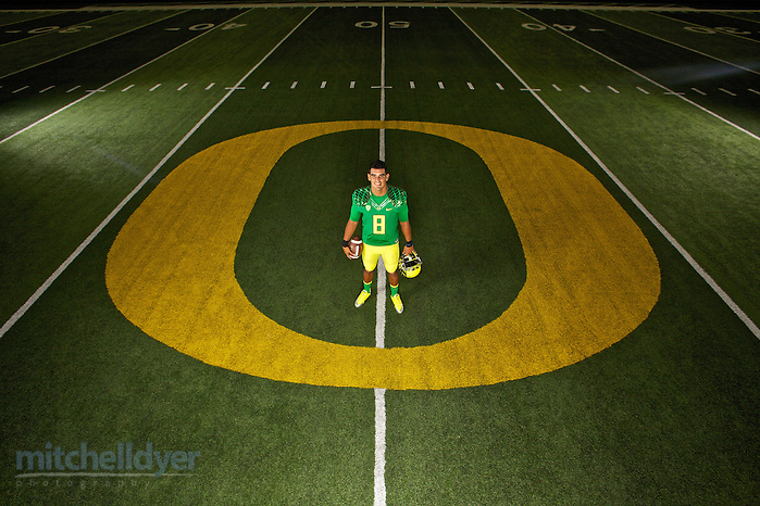 Portrait of Oregon Ducks Quarterback Marcu Mariota. Photographed in Eugene, OR for USA Today. Photo by Craig Mitchelldyer www.craigmitchelldyer.com (Craig Mitchelldyer)