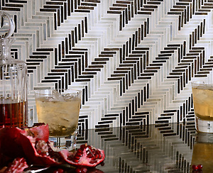 Houndstooth, a hand cut jewel glass mosaic shown in Jasper and Alabaster, is part of the Houndstooth Collection by Sara Baldwin for New Ravenna Mosaics. (New Ravenna Mosaics)