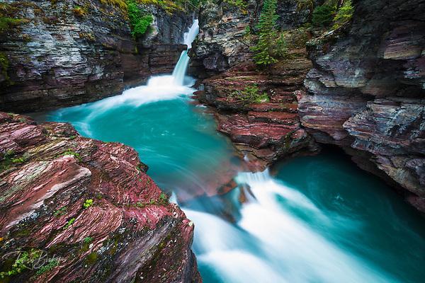 St. Mary Falls, Glacier National Park, Montana USA (© Russ Bishop/www.russbishop.com)