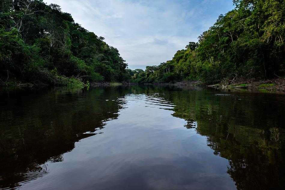 LORETO, PERU - CIRCA OCTOBER 2015: Shallow waterway in the Peruvian Amazon. (Daniel Korzeniewski)