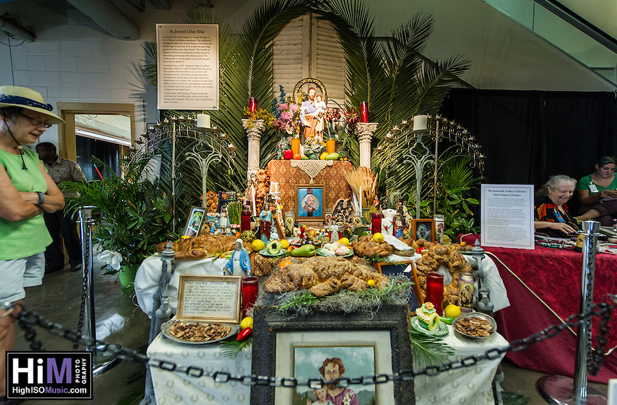 A St. Joseph Day's Altar for Allen Toussaint at Jazz Fest 2016. (HIGH ISO Music, LLC)