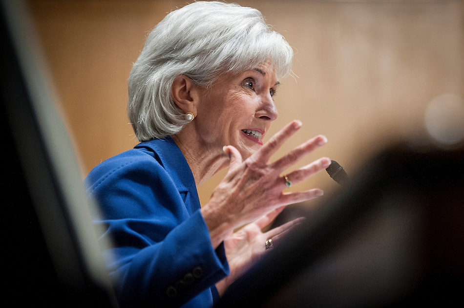 Health and Human Services Secretary Kathleen Sebelius testifies before a Senate Finance Committee hearing to update Congress on the health insurance exchanges. (Pete Marovich/Corbis)