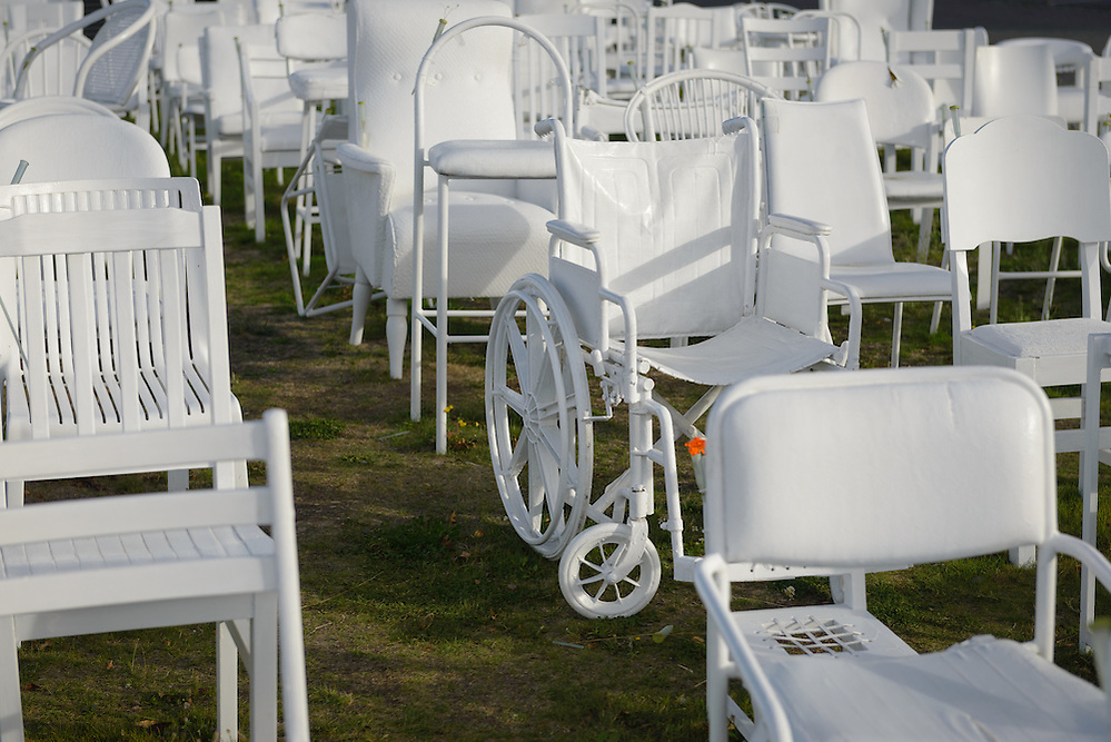 185 empty chairs memorial for Christchurch earthquake (Mark Eden)