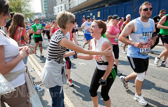 17 APR 2011 - LONDON, GBR - Sonja Lee Carey stops to talk with a friend during the London Marathon (PHOTO (C) NIGEL FARROW) (NIGEL FARROW/(C) 2011 NIGEL FARROW)