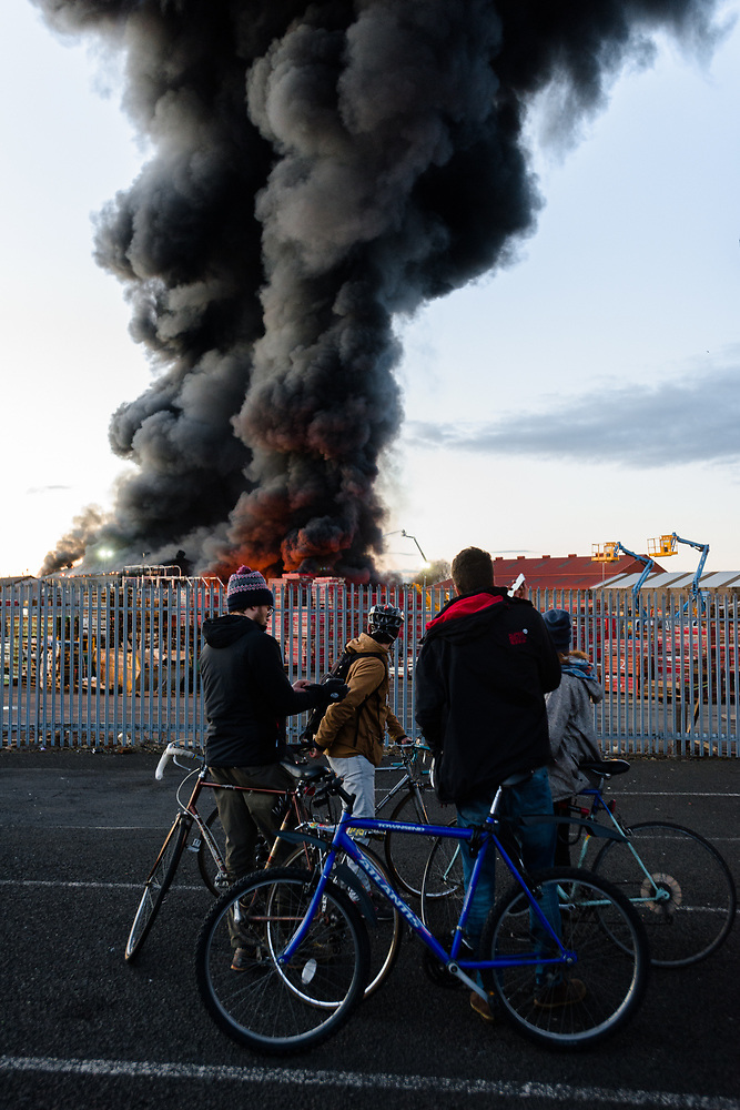The Govan scrapyard fire from the West End and up close. (Jack Beal)
