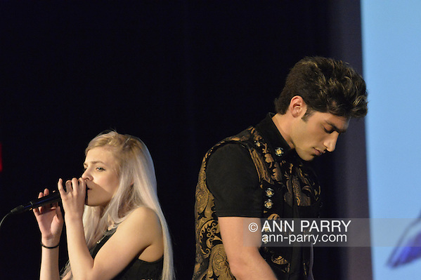 "Bellmore, New York, USA. July 21, 2016. Singers ROBBIE ROSEN, of American Idol top 8 Boys from Merrick, and SARAH BARRIOS perform the duet ""Chains"" at the19th Annual Long Island International Film Expo Awards Ceremony, LIIFE 2016, held at the historic Bellmore Movies. LIIFE was called one of the 25 Coolest Film Festivals in the World by MovieMaker Magazine. (Ann Parry/Ann Parry, ann-parry.com)"