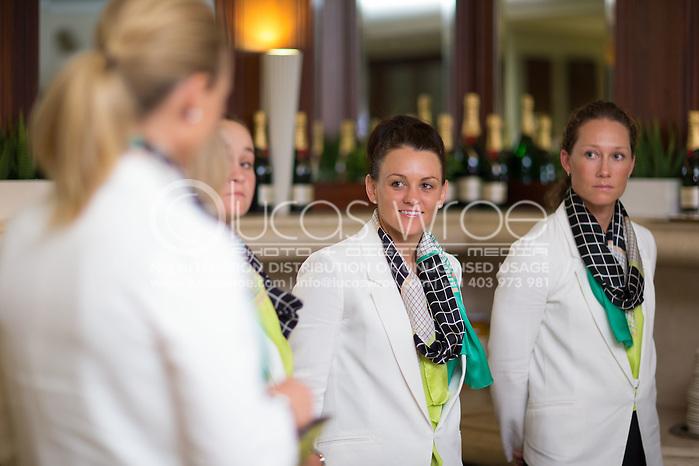 Casey Dellacqua (AUS) and Samantha Stosur (AUS), April 17, 2014 - TENNIS : Federation Cup, Semi-Final, Australia v Germany, Official Dinner, Stamford Plaza Hotel, Brisbane, Victoria, Australia. Credit: Lucas Wroe (Lucas Wroe)