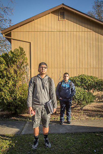 """If I could change one thing about myself, I would want to be less of a procrastinator."" -High school student Justin Cruz with his friend, Brian Lopez, in front of their aprtment complex at Mertle and Berry Strees in Calistoga (Clark James Mishler)"