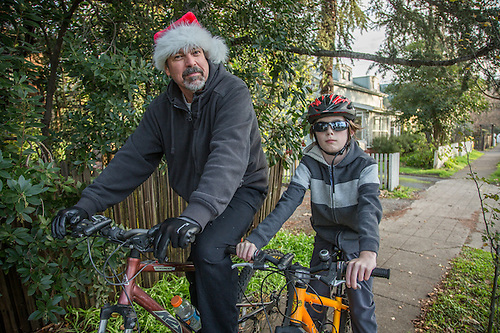 Construction manager Brian Fennen with his son, Dylan, out for a bike ride on Christmas day in Calistoga (Clark James Mishler)