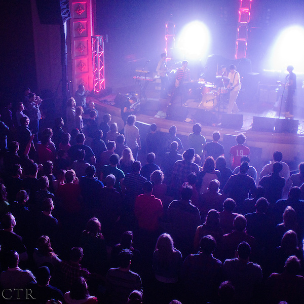 The Hold Steady play during a concert sponsored by Levi's at the Braddock Carnegie Library Music Hall in Braddock, Pa. (Christopher Rolinson)
