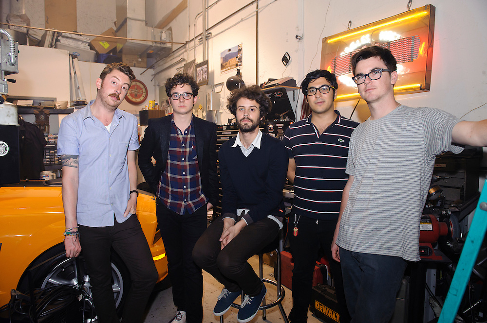 Portrait of Boston, Massachusetts electronica band Passion Pit photographed backstage at Classic Car Club, NYC. May 14, 2010. Ayad Al Adhamy, Michael Angelakos, Jeff Apruzzese, Nate Donmoyer, and Ian Hultquist. Copyright © 2010 Matt Eisman. All Rights Reserved. (Matt Eisman)