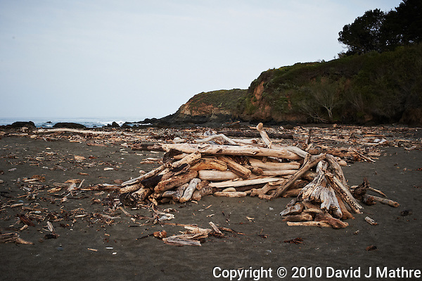 Driftwood Shelter near Pico Creek, San Simeon, Central California Coast. Image taken with a Nikon D3s and 50 mm f/1.4G lens (ISO 800, 50 mm, f/9, 1/320 sec). (David J Mathre)