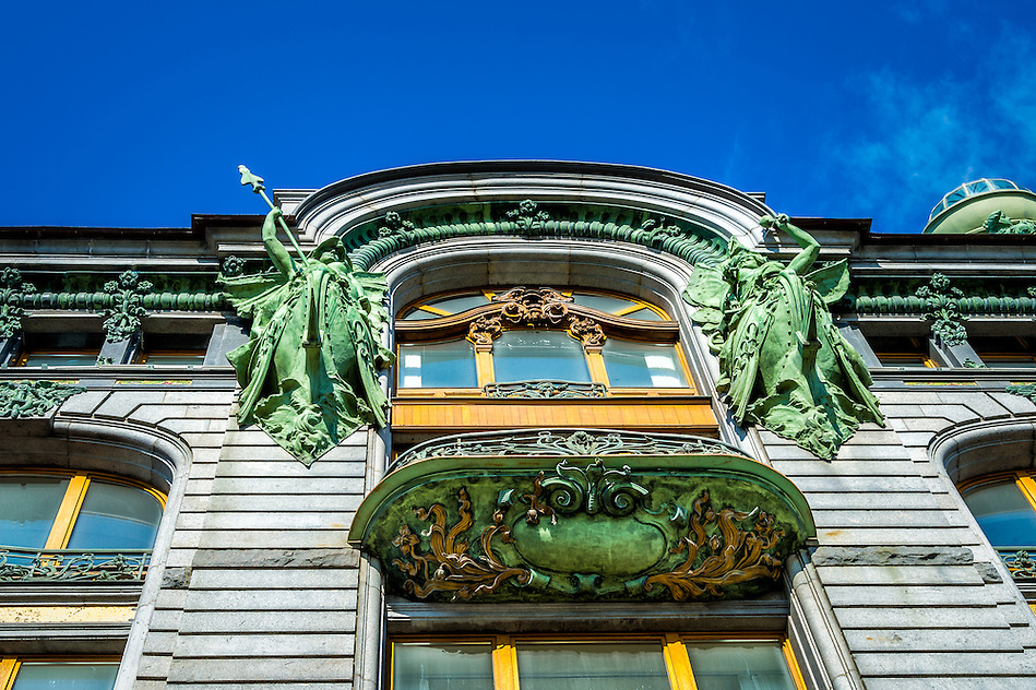 View of architectural details of the famous Singer House Building in St. Petersburg (Daniel Korzeniewski)