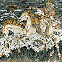 "20"" x 20"" Neptune marble mosaic in a high honed, pillowed finish (New Ravenna Mosaics 2010)"