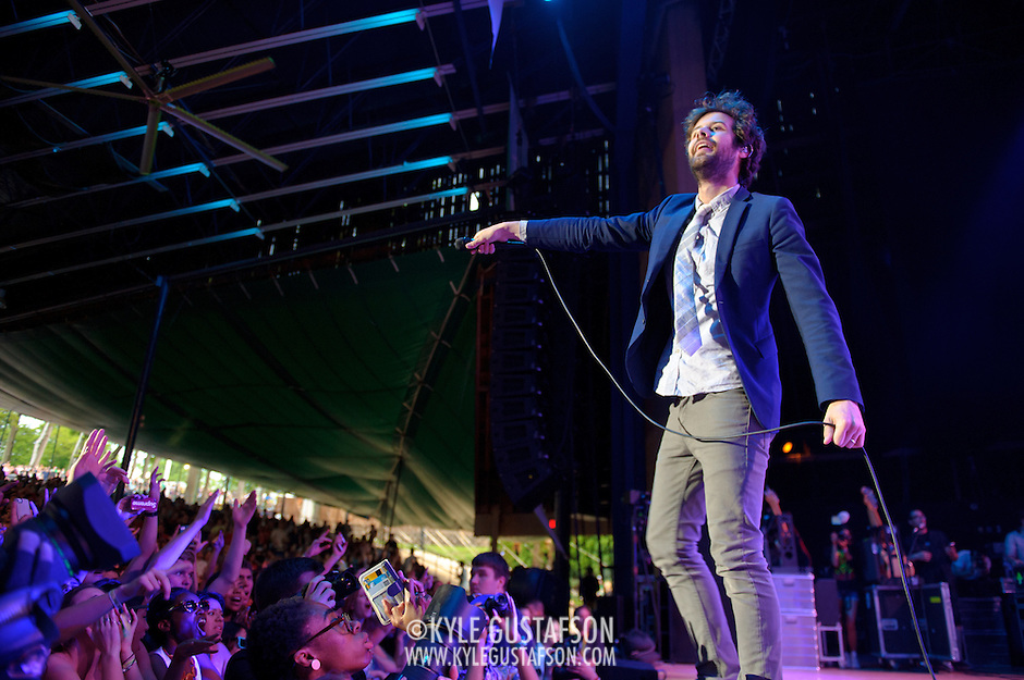 COLUMBIA, MD - May 11th,  2013 -   Michael Angelakos  of Passion Pit performs on the Main Stage at the 2013 Sweetlife Music and Food Festival at Merriweather Post Pavilion in Columbia, MD.  (Photo by Kyle Gustafson/For The Washington Post) (Kyle Gustafson/For The Washington Post)