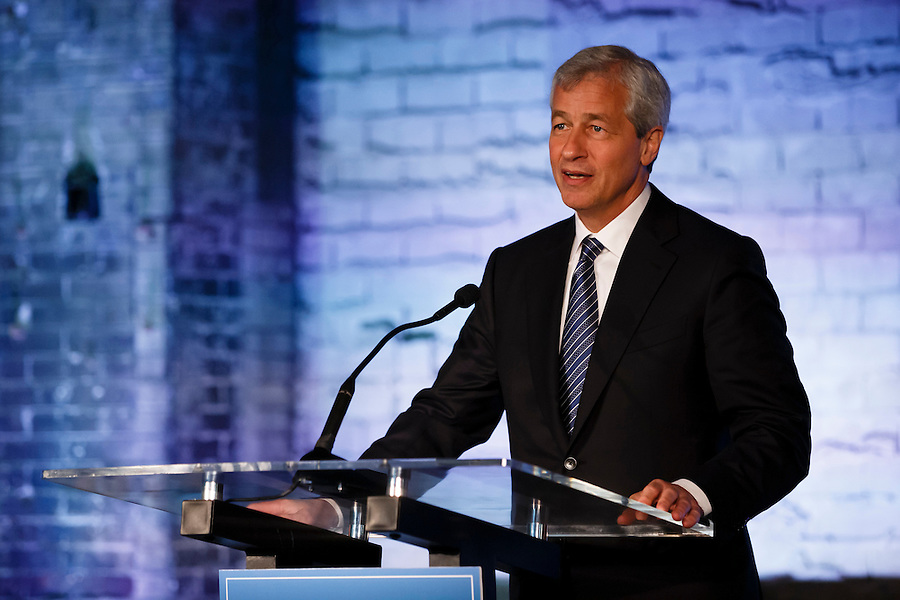 JPMorgan Chase CEO Jamie Dimon visits Detroit on the one year anniversary of the firm's $100 million commitment to the city's revitalization, on Monday, May 18, 2015 in Detroit. (Photo by Rick Osentoski/Invision for JPMorgan Chase Co./AP Images) (Rick Osentoski/Invision for JPMorgan Chase & Co.)