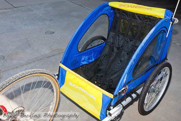 My Schwinn Spirit bike trailer before modifying it to had a wooden platform to carry cargo. (Marc C. Perkins)
