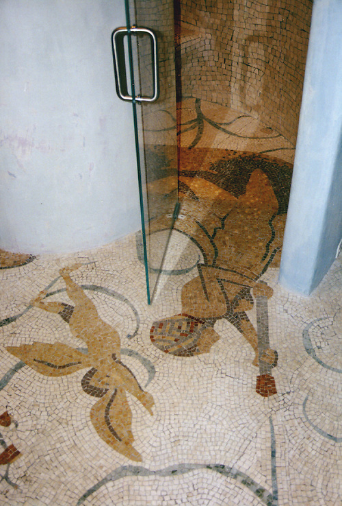 Custom Roman African shower in hand chopped marble mosaic tesserae (New Ravenna Mosaics)