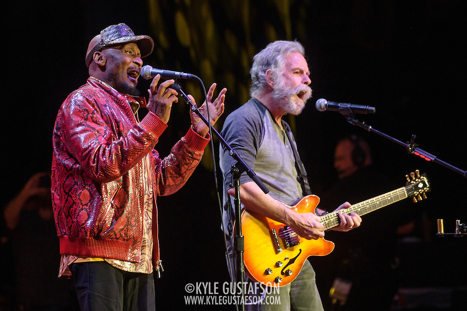 COLUMBIA, MD - May 14, 2015 - Jimmy Cliff and Bob Weir perform during the Dear Jerry: Celebrating the Music of Jerry Garcia concert at Merriweather Post Pavilion in Columbia, MD. (Photo by Kyle Gustafson / For The Washington Post) (Kyle Gustafson/For The Washington Post)