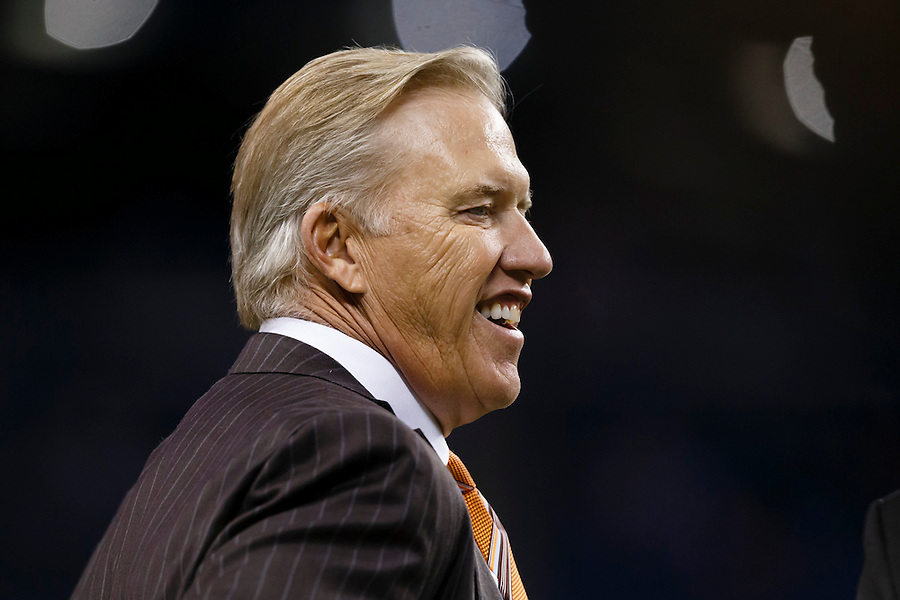 General Manager and Executive Vice President of Football Operations for the Denver Broncos John Elway prior to an NFL football game against the Detroit Lions at Ford Field in Detroit, Sunday, Sept. 27, 2015. (AP Photo/Rick Osentoski) (Rick Osentoski/AP)