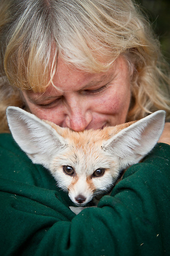 Karen Woody with an African Fennec Fox, Woody's Menagerie, Alaska State Fair, Palmer, Alaska (Clark James Mishler)