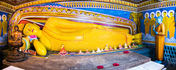 Panoramic photo of golden reclining Buddha at Temple of the Tooth (Temple of the Sacred Tooth Relic) in Kandy, Sri Lanka, Asia. This is a panoramic photo of a Golden Reclining Buddha at Temple of the Tooth (Temple of the Sacred Tooth Relic) in Kandy, Sri Lanka, Asia. Kandy is the cultural capital of Sri Lanka, and the Temple of the Tooth is the highlight with streams of locals making their offerings, impressive temple buildings and colourful Buddha statues such as this golden reclining Buddhas. (Matthew Williams-Ellis)