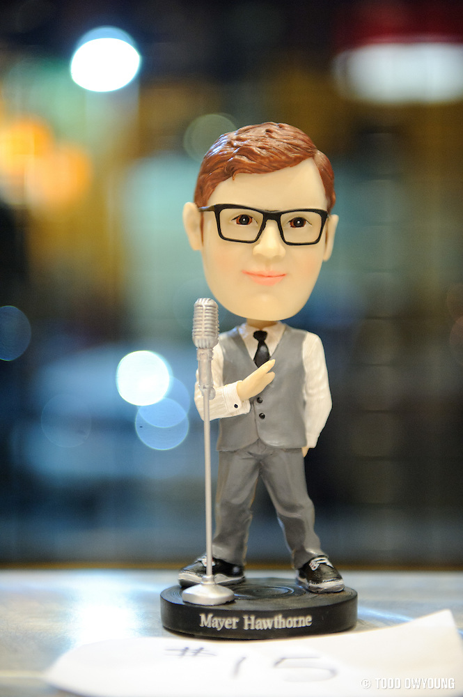A Mayer Hawthorne bobble-head toy on sale in Suite 100 at the Pageant. (Todd Owyoung)