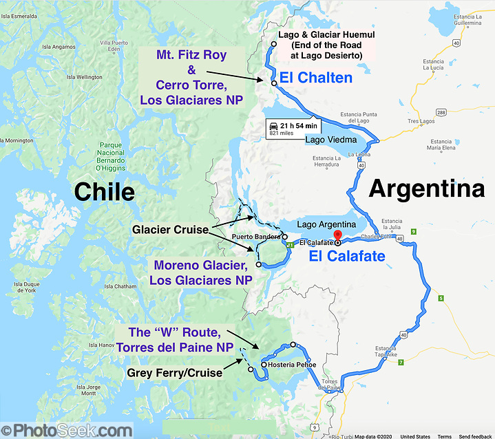 Argentina & Chile Patagonia trip map: three Dempseys travelled from 11 February - 05 March 2020: El Calafate, Los Glaciares National Park, El Chalten, Monte Fitz Roy, Lago del Desierto, & Torres del Paine NP. (© Tom Dempsey / PhotoSeek.com)