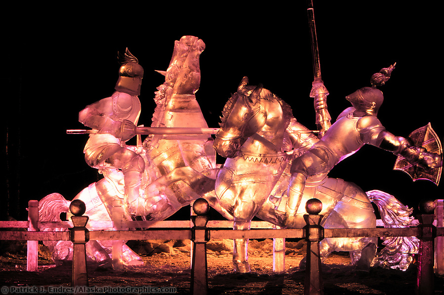 Ice sculpting photos: Award winning Ice sculpture, The Joust, World Ice Sculpting Competition, Fairbanks, Alaska (Patrick J. Endres / AlaskaPhotoGraphics.com)