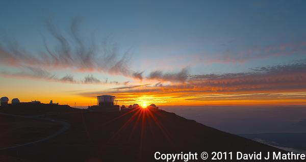 Sunset over Haleakala Satellite Tracking Station from Pu'U'Ula'Ula peak in Haleakala National Park, Maui Hawaii. Image taken with a Nikon D3x and 24 mm f/3.5 PC-E lens (ISO 100, f/16, 1/10 sec). NIK HDR Pro (5 images) (David J Mathre)