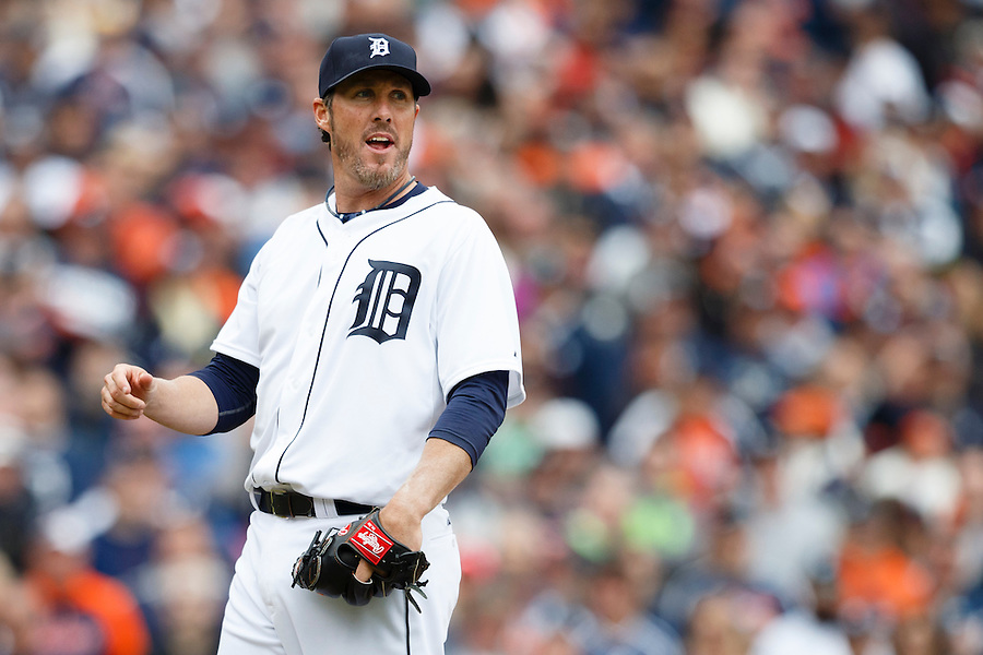 Apr 6, 2015; Detroit, MI, USA; Detroit Tigers relief pitcher Joe Nathan (36) reacts during the ninth inning against the Minnesota Twins at Comerica Park. Mandatory Credit: Rick Osentoski-USA TODAY Sports (Rick Osentoski/Rick Osentoski-USA TODAY Sports)