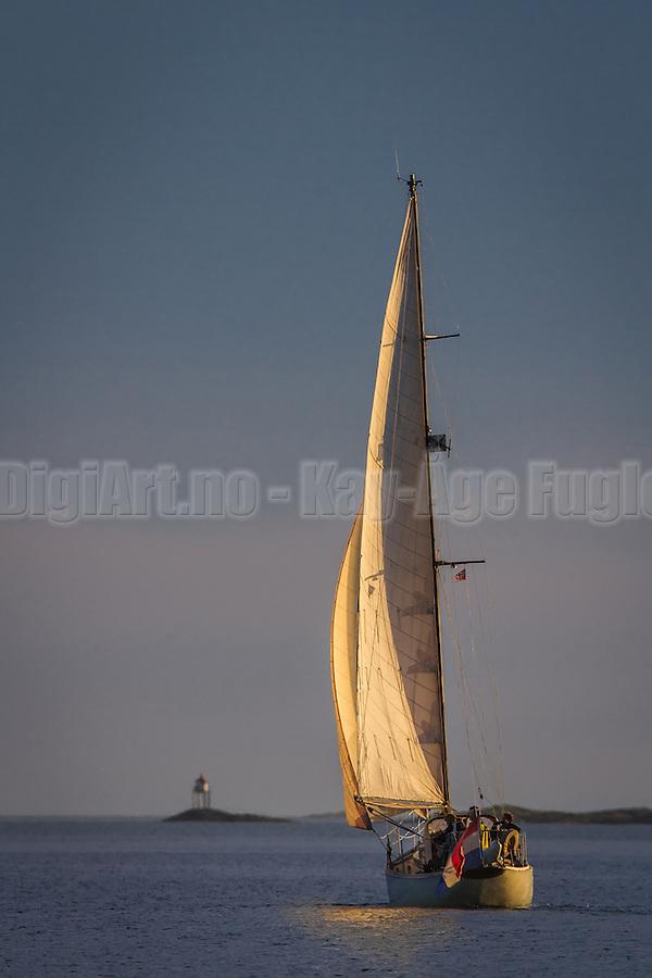 Sailboat in sunlight | Seilbåt i sollys  i Herøyfjorden. (Kay-Åge Fugledal)