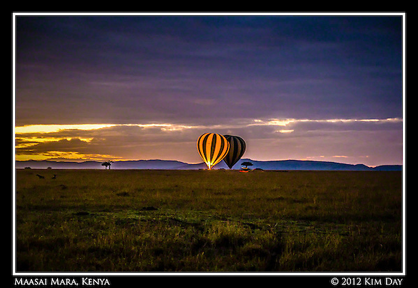 Balloons Ready For Take Off At Dawn.Maasai Mara, Kenya.September 2012 (Kim Day)