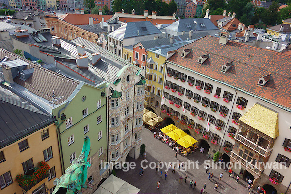 Austria: Innsbruck Old Town (Altstadt) and Goldenes Dachl from the Stadtturm - Travel Photography By Simon Kirwan