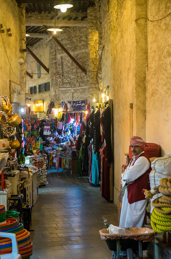DOHA, QATAR - CIRCA DECEMBER 2013: Merchant at the Souq Waqif. This is a popular and traditional market bazaar in Doha. (Daniel Korzeniewski)