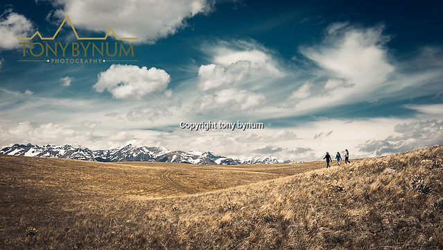 Outdoor Photography, Hikers hiking on the prairie