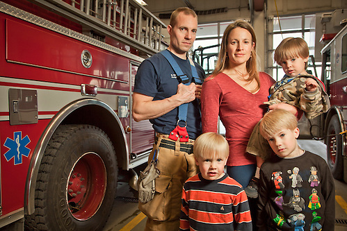 Firefighter and EMT, Greg Wahlman and his wife, Janey and sons Cai, Caleb, and Cob,  at Firehouse #1 on Easter Sunday, Anchorage, Alaska (Clark James Mishler)