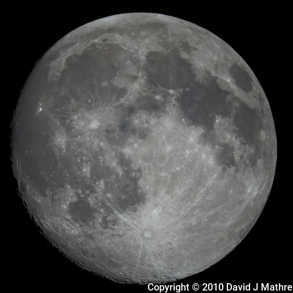 "Moon over New Jersey. Image taken with a Nikon D3x and Questar 7"" telescope (ISO 200, 2500 mm, f/16, 1/200 sec) (David J Mathre)"
