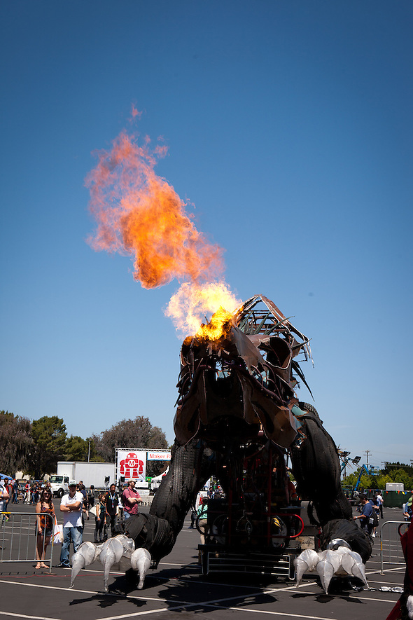A fire-breathing dragon at Maker Faire 2012. (Sha Sha Chu)