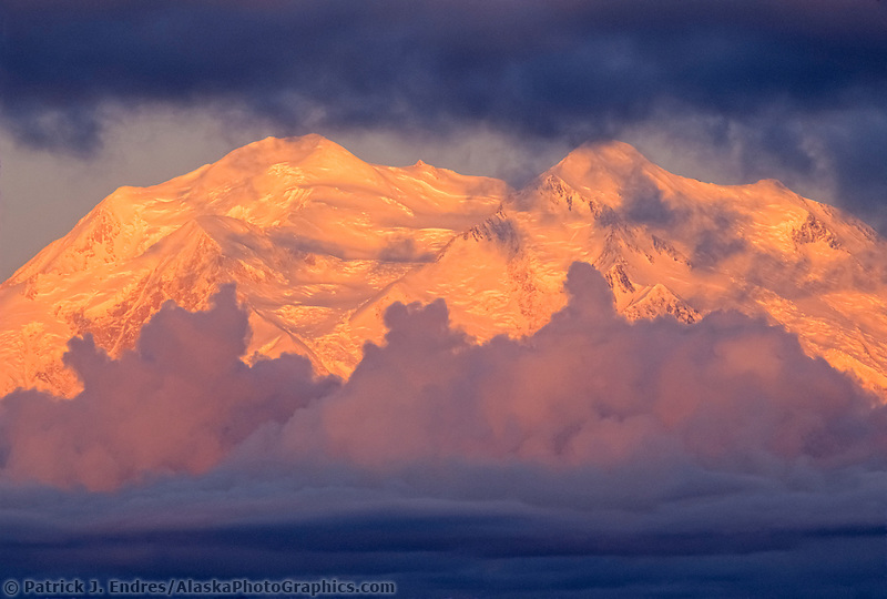Denali Photos: North And South Peaks Of Denali, North America's Highest Mountain, Viewed From Stony Dome, Storm Clouds At Sunrise, Denali National Park, Alaska (Patrick J. Endres / AlaskaPhotoGraphics.com)