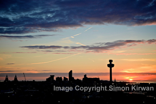 Liverpool Midsummer Skyline Sunset - photo by Simon Kirwan