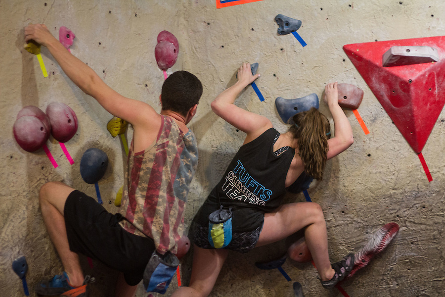 CAPTION during a Tufts Climbing Team practice on Wednesday night, April 6, 2016 at MetroRock in Everett, MA. (Max Lalanne/The Tufts Daily) (Max Lalanne/The Tufts Daily)