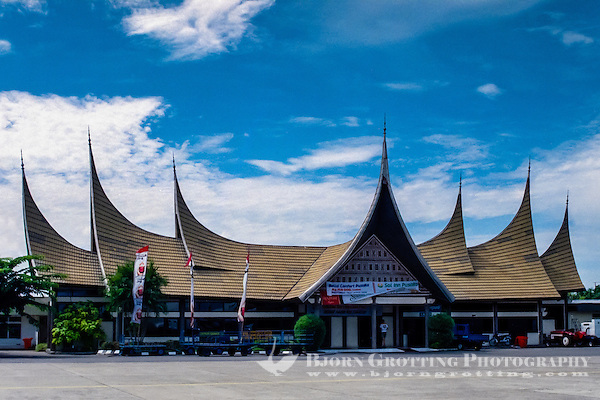 West Sumatra. Padang airport terminal. The bulls horn roofs are traditional Minangkabau architecture. (Photo Bjorn Grotting)