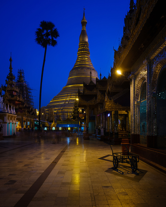 YANGON, MYANMAR - CIRCA DECEMBER 2017: Shwedagon Pagoda in Yangon at night (Daniel Korzeniewski)