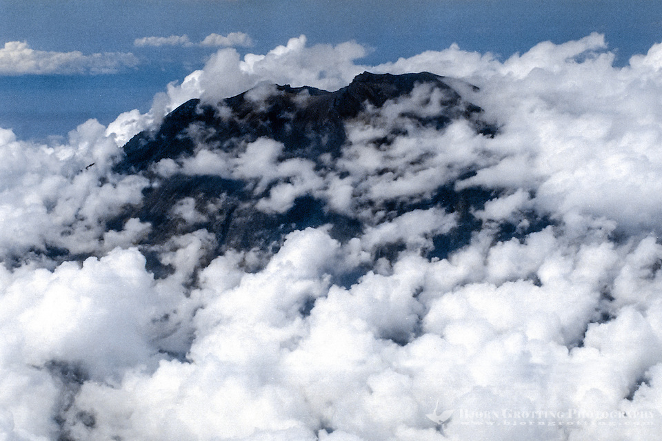 Bali, Karangasem, Gunung Agung. The summit of Gunung Agung covered by clouds (from airplane). (Photo Bjorn Grotting)