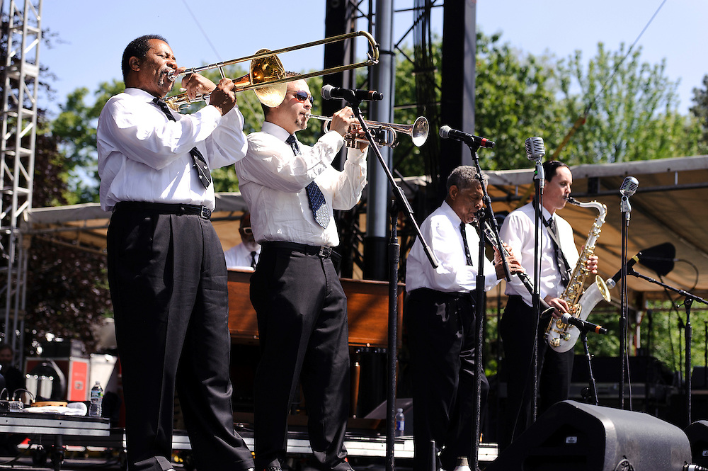 Photos of the Preservation Hall Jazz Band performing at The Great GoogaMooga festival at Prospect Park in Brooklyn, NY. May 19, 2012. Copyright © 2012 Matthew Eisman. All Rights Reserved. (Photo by Matthew Eisman/WireImage)