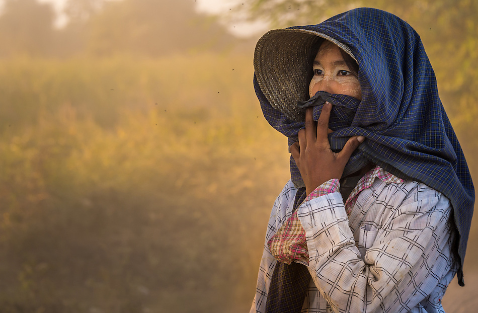BAGAN, MYANMAR - CIRCA DECEMBER 2013: Portrait of burmese woman, a farmer from a village in the afternoon near Bagan in Myanmar (Daniel Korzeniewski)