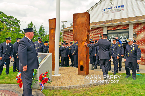 North Bellmore Fire Department 9/11 remembrance ceremony and unveiling of two pieces of steel from the World Trade Center added to the existing 9/11 monument, 1500 Newbridge Road, North Bellmore, New York, USA, on September 10, 2011. (Ann Parry/Ann Parry, Ann-Parry.com)